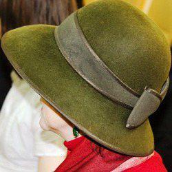 Klasyczny kapelusz filcowy zielony kokarda wstążka kobieta
