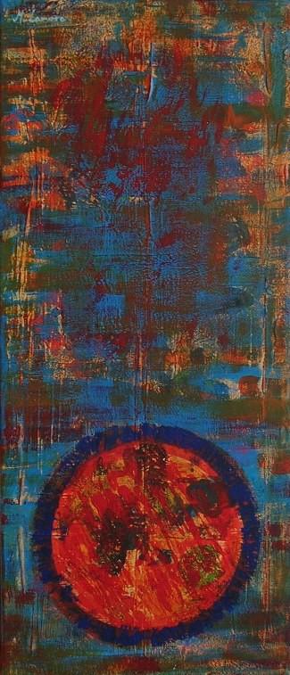 """""""Zamknięte w butelce rocznik 1953"""" 2013, akryl na płótnie, 50 x 70 cm, © M. Lamoro"""