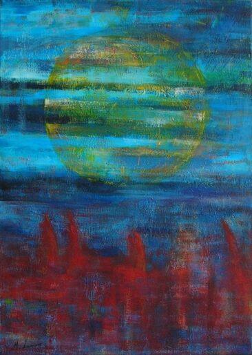 """""""W kawałku nocy o północy"""" 2013, akryl na płótnie, 50 x 70 cm, © M. Lamoro"""