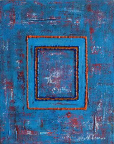 """""""Drewniana pomarańczowa ławka"""" 2013, akryl na płótnie, 24 x 30 cm, © M. Lamoro"""