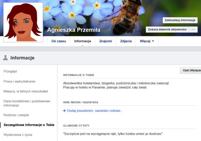 Co tojest biogram naFB informacje osobie naFacebooku Jak ukryć informacje omnie Przykłady