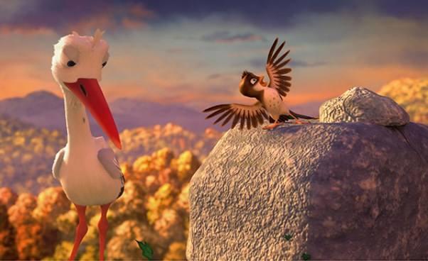 Filmy obocianach Bajki dla dzieci Riko prawie bocian mały wróbelek myśli żejest bocianem Fabuła