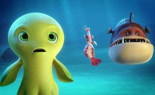 Bajka animowana dla dzieci film oośmiornicy krewetce żabnicy Dudi Cała naprzód Recenzja opis fabuły zwierzęta morskie