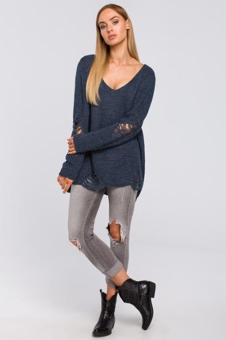Sweter zdziurami jeansowy Modne damskie swetry