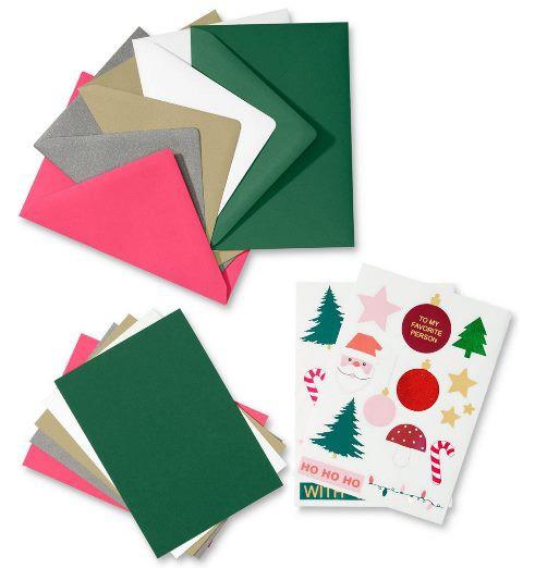Kartki świąteczne znaklejkami Zestaw doprojektowania kartek
