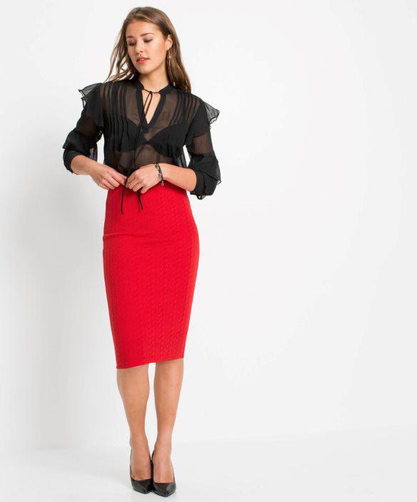 Dopasowana spódnica ołówkowa spódnica czerwona zakolano